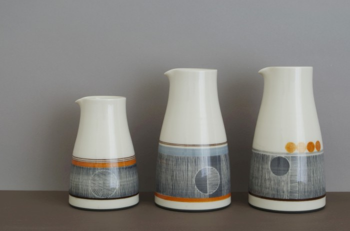 thrown porcelain pourers by James and Tilla Waters