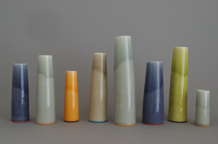 thrown porcelain vases by James and Tilla Waters
