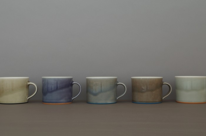 coffee cups in smog slate pond and grey by James and Tilla Waters