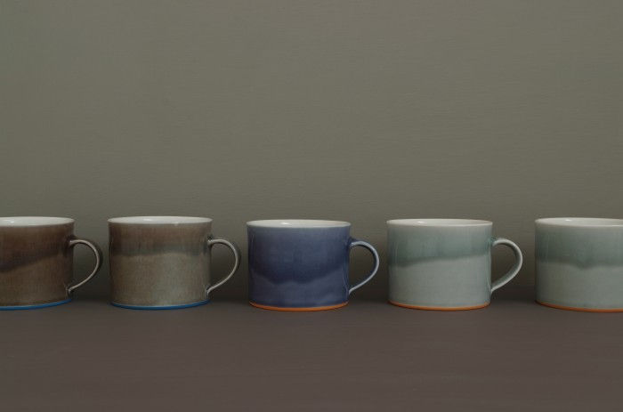 breakfast mugs in plain colours by James and Tilla waters