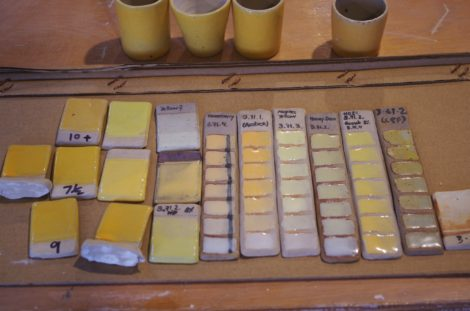 yellow test tiles, line blends and test beakers