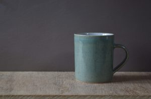small celadon mug by James and Tilla Waters